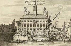 Zeemagazijn Delfshaven (17e eeuwse prent van C. Decker)
